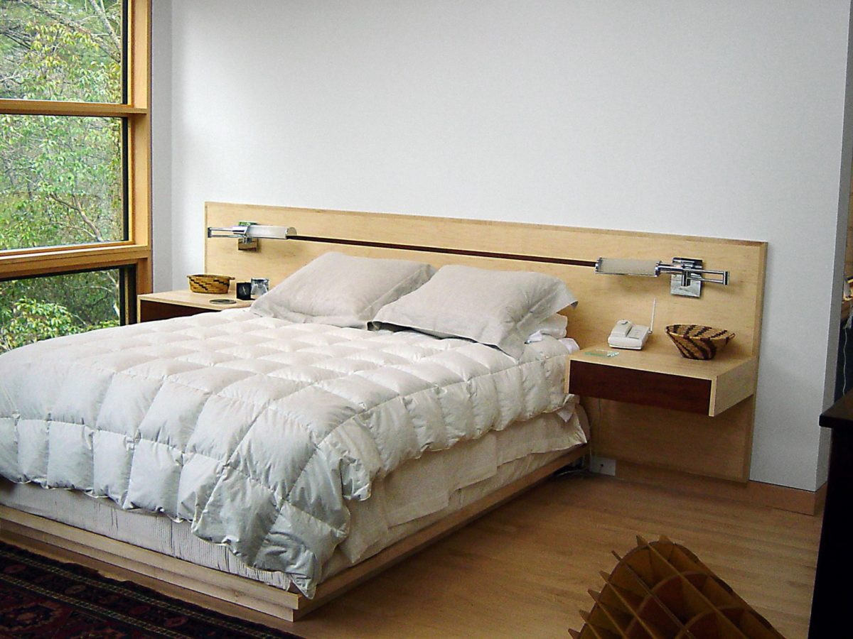 Platform bed with inlay headboard incorporating nightstands and ...