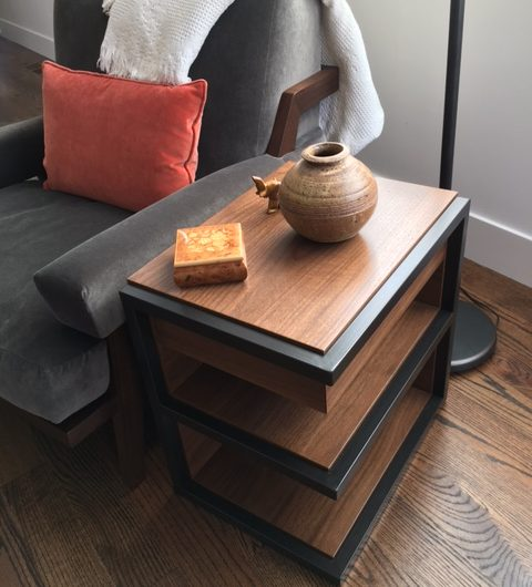 Walnut and Steel side table