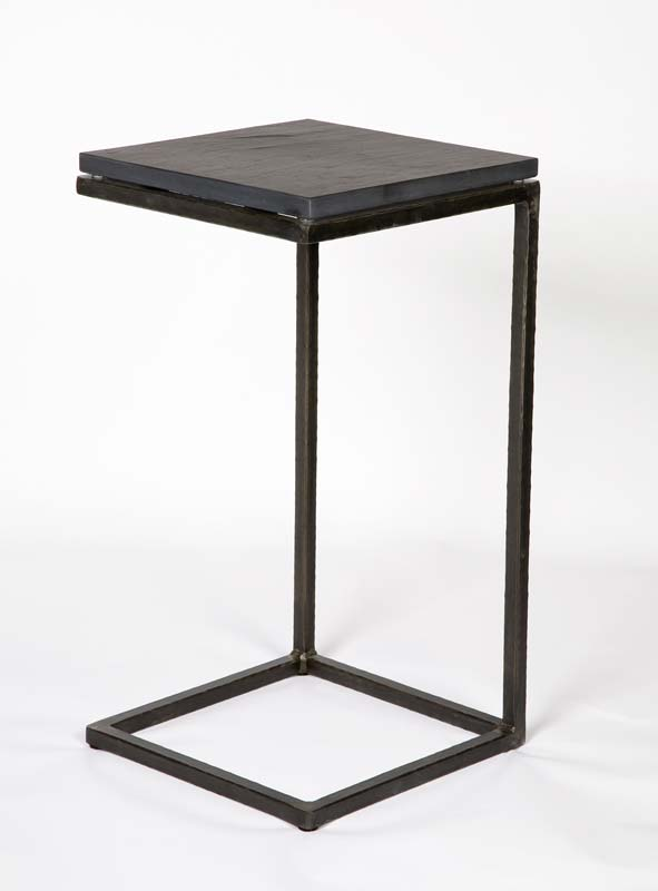Exceptionnel Minimalist Steel Frame Side Table With Floating Ash Top