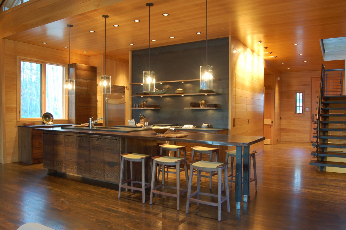 Custom Kitchen Using Reclaimed Wormy Chestnut Cabinets. The Island Is Solid  Walnut With A Naural Edge.