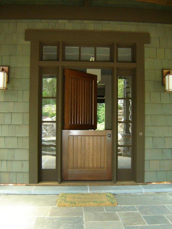 White Oak Dutch Tongue And Groove Door With Sidelites And Transom